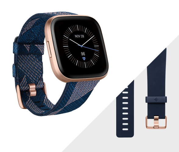 Fitbit Versa 2 Special Edition Navy & Pink Woven Band/Copper Rose Aluminum Case pametni sat